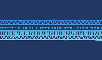 Digital Art - Turquoise Batik Tribal Stripe by Karen Dyson
