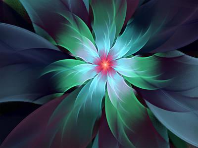 Digital Art - Turquoise Bloom by Barbara A Lane