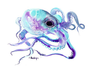 Painting - Turquoise Blue Purple Octopus by Suren Nersisyan