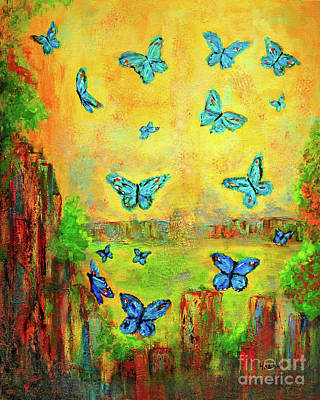 Painting - Turquoise Butterflies by Haleh Mahbod