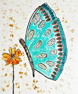 Painting - Turquoise Butterfly by Jasna Gopic
