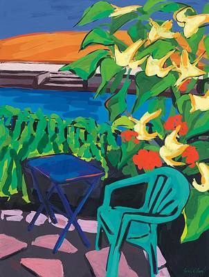 Paving Painting - Turquoise Chair And Geranium by Sarah Gillard