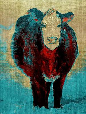 Painting - Turquoise Cow Art Painting  by Michele Carter