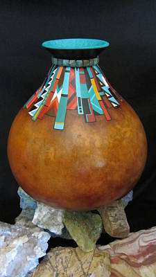 Mixed Media - Turquoise Design Gourd by Barbara Prestridge