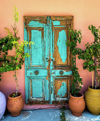 Photograph - Turquoise Door In Katakolon by Gary Karlsen