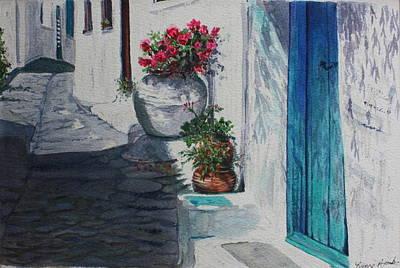 Turquoise Door Art Print by Yvonne Ayoub