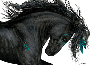 Black Friesian Painting - Turquoise Dreamer Horse by AmyLyn Bihrle