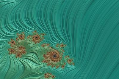 Digital Art - Turquoise Fractal 1 by Bonnie Bruno