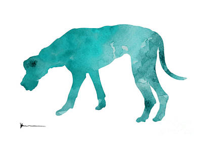 Dog Abstract Art Painting - Turquoise Great Dane Watercolor Art Print Paitning by Joanna Szmerdt