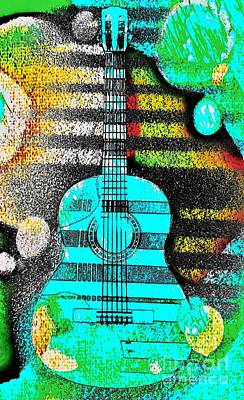 Turquoise Guitar By Jasna Gopic Art Print by Jasna Gopic