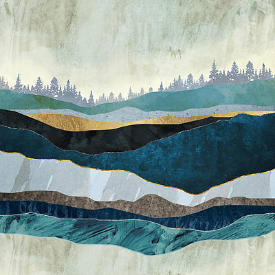 Abstract Landscape Digital Art - Turquoise Hills by Spacefrog Designs