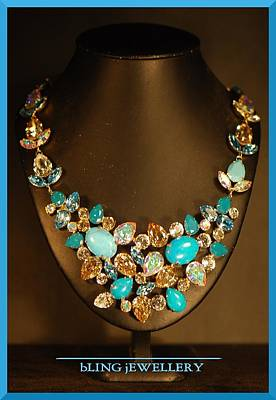 Cabochon Wall Art - Jewelry - Turquoise Howlite And Crystal Sculptured Necklace by Janine Antulov