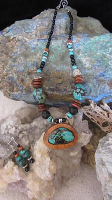 Jewelry - Turquoise In Gourd Wood #d74 by Barbara Prestridge