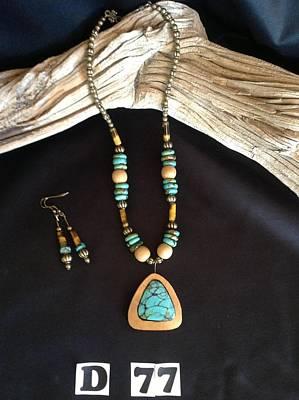 Jewelry - Turquoise In Gourd Wood #d77 by Barbara Prestridge