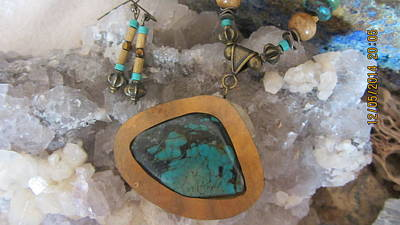 Jewelry - Turquoise In Gourd Wood #d90 by Barbara Prestridge