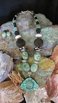 Jewelry - Turquoise In Gourd Wood #ff35 by Barbara Prestridge