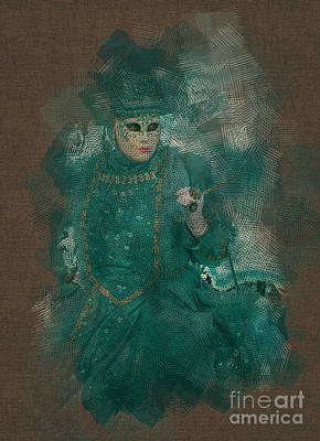 Photograph - Turquoise Lady Venice Carnival by Jack Torcello
