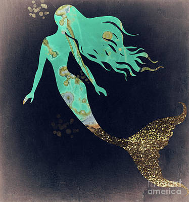Mermaid Painting - Turquoise Mermaid by Mindy Sommers