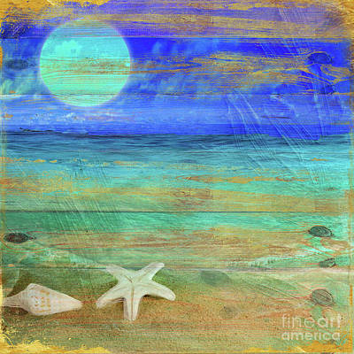 Turquoise Moon Art Print by Mindy Sommers