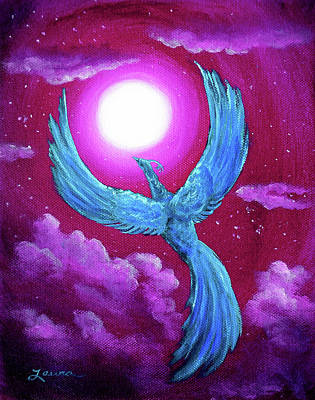 Phoenix Painting - Turquoise Moon Phoenix by Laura Iverson