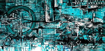 Flo Painting - Turquoise No 17 by De Flo
