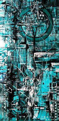 Flo Painting - Turquoise No 17 Vertical by De Flo