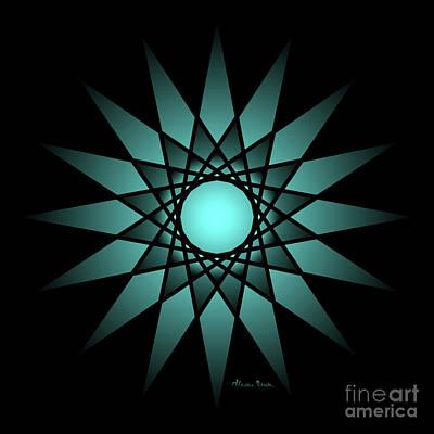 Digital Art - Turquoise Ombre Deep Gaze Mandala by Heather Schaefer