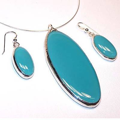 Nugget Necklace Jewelry - Turquoise Ovals by Kelly DuPrat