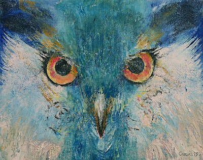 Abstract Wildlife Painting - Turquoise Owl by Michael Creese