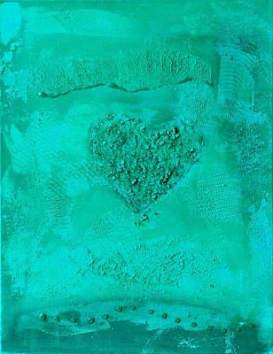 Painting - Turquoise Paper Heart - Variation  by Alexandra Schumann