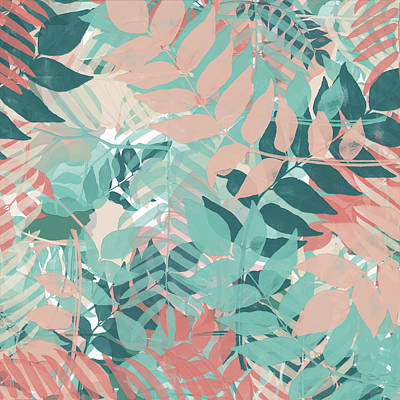 Layered Digital Painting - Turquoise Pink Botanical by Bonnie Bruno
