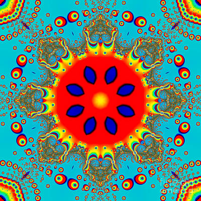 Abstract Digital Art - Turquoise Red Fractal Mandala by Marv Vandehey