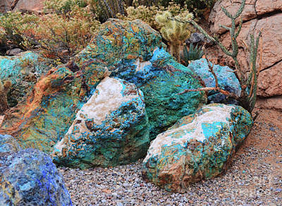 Turquoise Rocks Art Print by Donna Greene