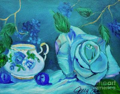 Turquoise Rose Original by Jenny Lee