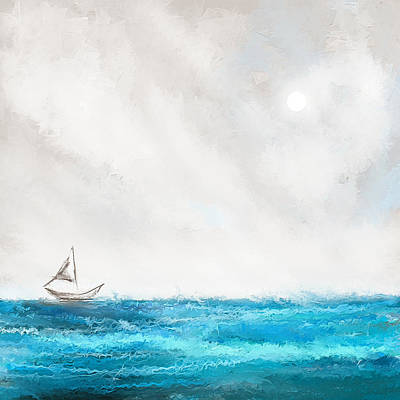 Abstract Seascape Painting - Turquoise Sailing - Moonlight Sailing by Lourry Legarde