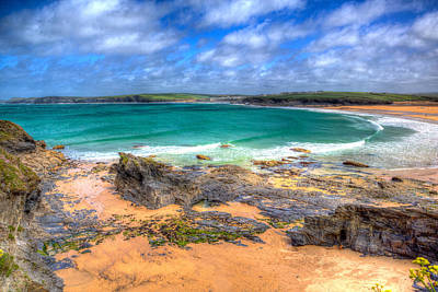 Trevone Photograph - Turquoise Sea On North Cornwall Coast At Harlyn Bay Beach by Michael Charles