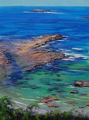 Rocky Beach Painting - Turquoise Seascape by Graham Gercken
