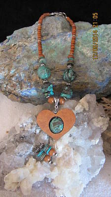 Turquoise Set In Gourd Heart #h86 Original by Barbara Prestridge