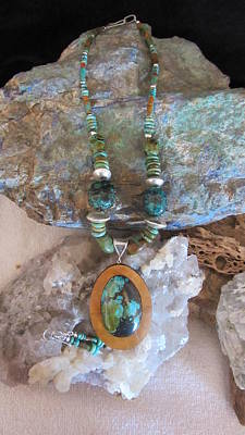 Jewelry - Turquoise Set In Gourd Wood #d142 by Barbara Prestridge