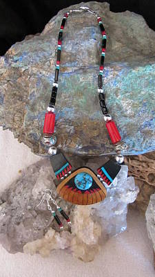 Silver Turquoise Mixed Media - Turquoise Set In Gourd Wood #ff29 by Barbara Prestridge
