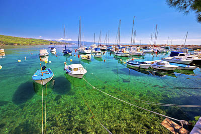 Photograph - Turquoise Small Harbor Of Volosko Village View by Brch Photography