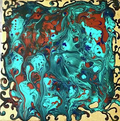 Mixed Media - Turquoise Splash by Rae Chichilnitsky