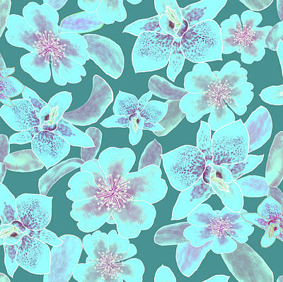 Digital Art - Turquoise Spotted Orchids On Teal by Karen Dyson
