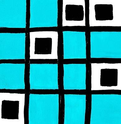 Turquoise Squares Art Print by Marsha Heiken