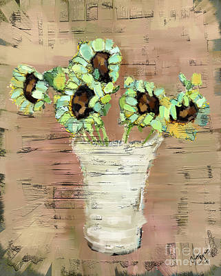 Turquoise Sunflowers Art Print by Carrie Joy Byrnes