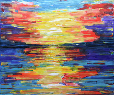 Painting - Turquoise Sunset Soft And Smooth by Pete Caswell