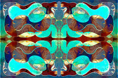 Turquoise Transitions Abstract Macro Transformations By Omashte Art Print by Omaste Witkowski