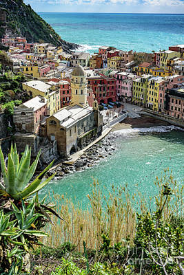 Photograph - Turquoise Water And Village Of Vernazza, Cinque Terre, Italy by Global Light Photography - Nicole Leffer