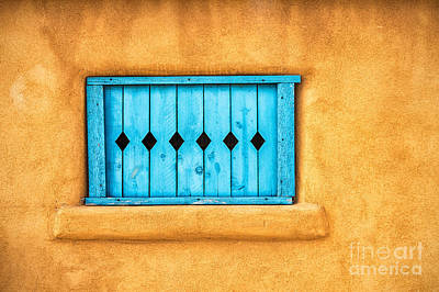 Ristra Digital Art - Turquoise Window Shutter by Jerry Fornarotto
