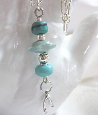 Handmade Lampwork Beads Jewelry - Turquoise Wishes Necklace by Janet  Telander